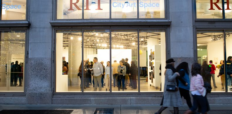 """RIT City Art Space, shown during the """"BFA Senior Exhibition I: School of Art"""" opening on April 5, 2019, is the Rochester Institute of Technology College of Art and Design's premiere exhibition and event venue downtown. (Matteo Bracco/University News)"""
