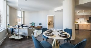 Spectra at Sibley Square is now leasing studio, one-, two- and even some three-bedroom luxury apartments, with monthly rent ranging from $1,400 to $2,690. (Courtesy of Tipping Point Communications)