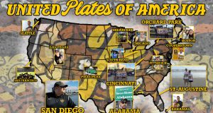 "The Red Wings' ""United Plates of America"" map, showing locales across the country at which fans have snapped selfies."