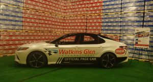 Official Toyota Camry XSE Watkins Glen International pace car branded, with Genesee Brewery.
