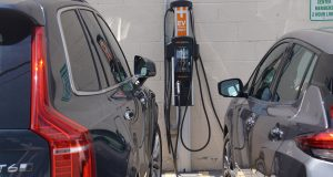 Electric vehicle charging station at RRH's Riedman campus.