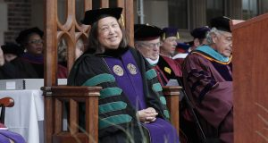 Joyce P. Jacobsen at her presidential inauguration at Hobart and William Smith Colleges