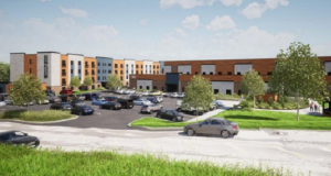 A rendering of the 157-unit senior housing development in the old Sears store in Irondequoit by Passero Associates.