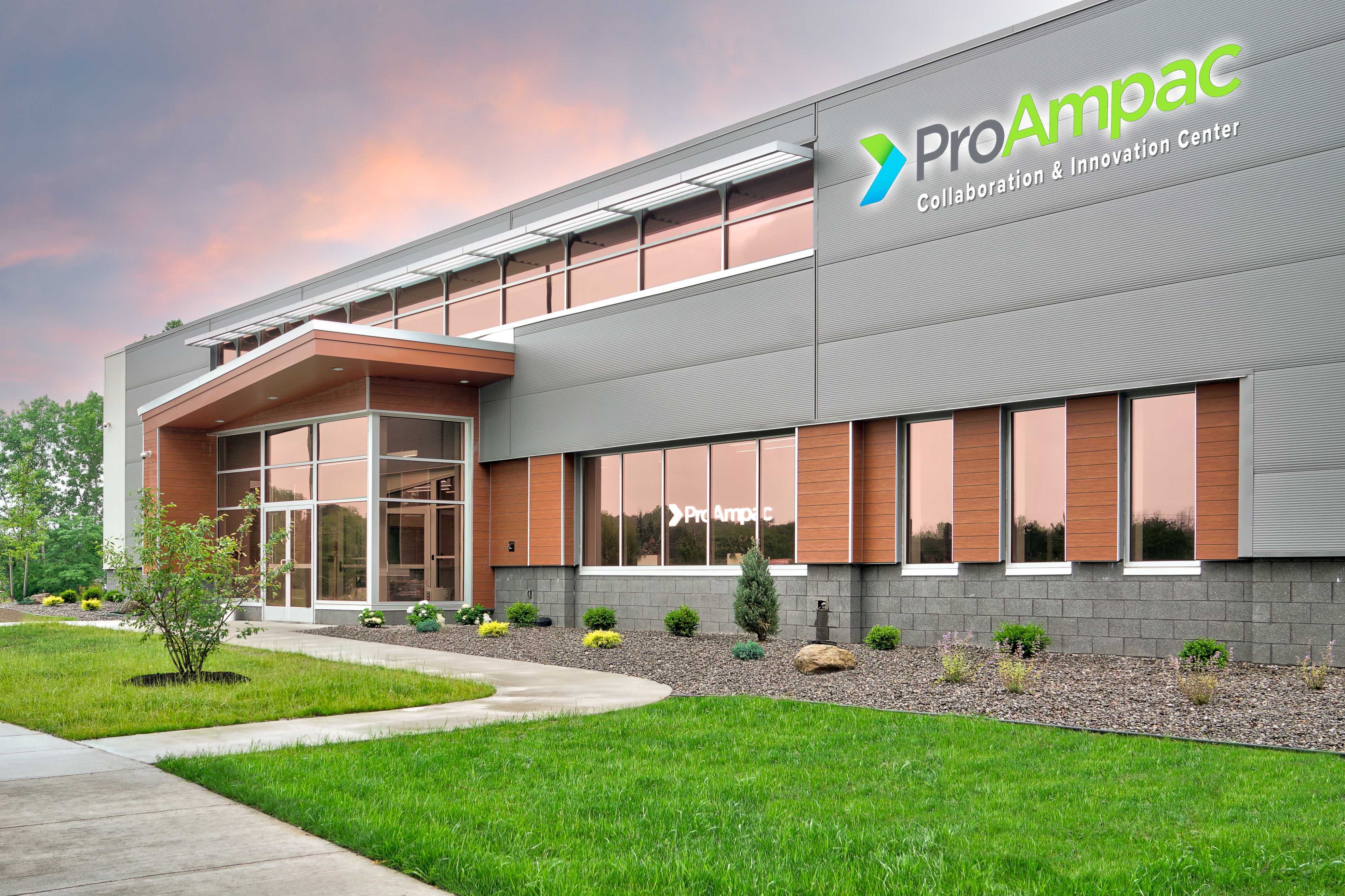 Artist rendering of the ProAmpac global Collaboration & Innovation Center in Ogden, N.Y. near Rochester that opened with a July 14, 2021, ribbon-cutting event attended by Lieutenant Governor Kathy Hochul and other New York State and local officials and regional business leaders.